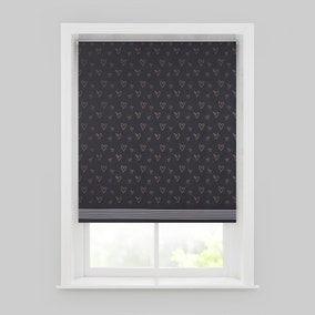 Copper Hearts Black Blackout Roller Blind
