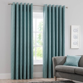 Dempsey Teal Eyelet Curtains