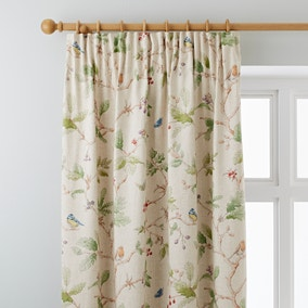 Dorma Woodland Birds Natural Pencil Pleat Curtains