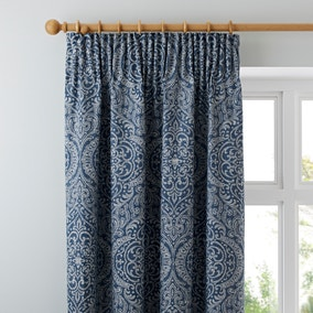 Dorma Odisha Blue Pencil Pleat Curtains