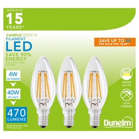Dunelm Pack of 3 4W LED SES Filament Candle Bulbs