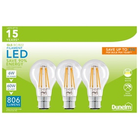 Dunelm Pack of 3 6W LED BC Filament Pearl Bulbs