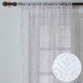 Ikat Geo White Slot Top Voile Panel