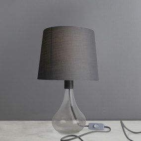 Jena Clear Glass Grey Table Lamp