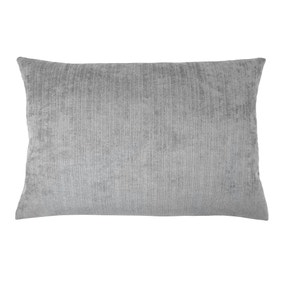 Chenille Topaz Grey Rectangular Cushion Cover