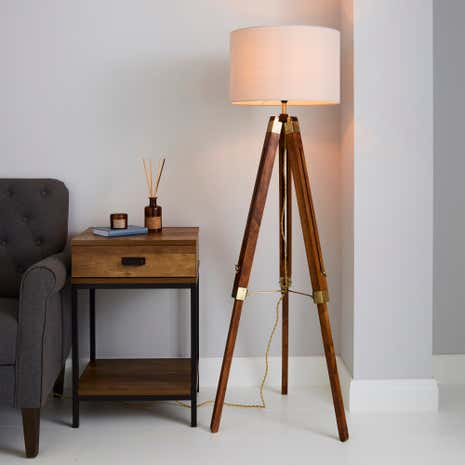 Trio Natural Tripod Floor Lamp Dunelm