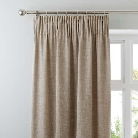 Vermont Oatmeal Pencil Pleat Curtains