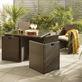 Gobi Brown 4 Seat Cube Set