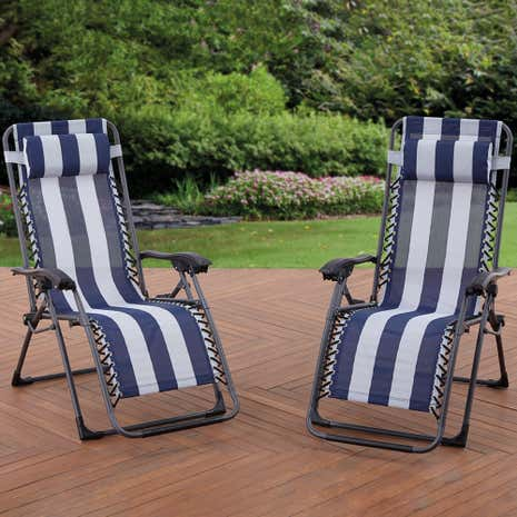 Oslo Navy Stripe Pair of Floating Loungers
