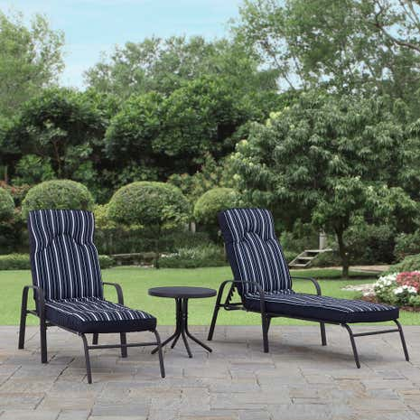 Hampton Navy Pair of Loungers
