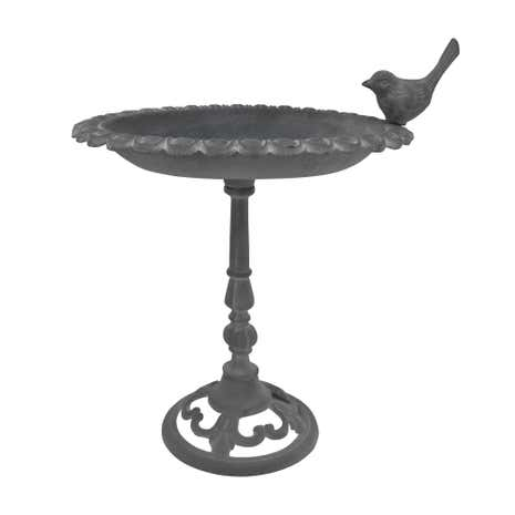 Cast Metal Bird Bath Grey