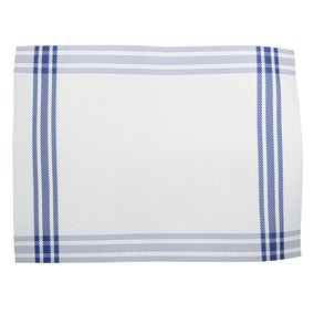 Pack of 2 Nautical Blue Stripe Vinyl Placemats