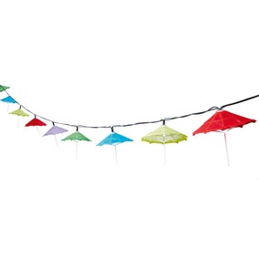 Set of 10 Solar Powered Umbrella String Lights
