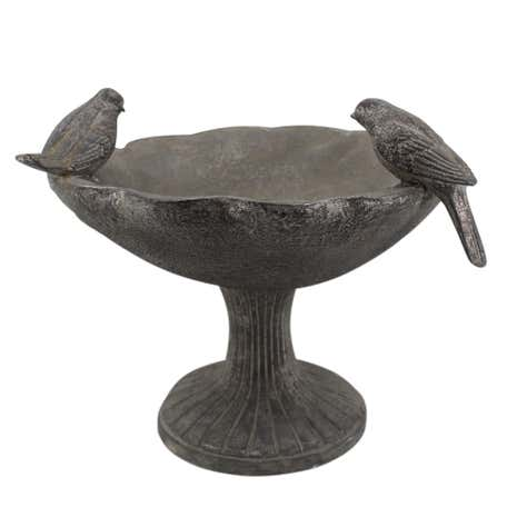 Resin Bird Bath with Stand Silver
