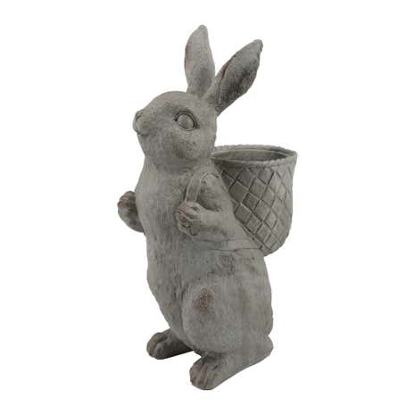 Resin Rabbit with Backpack Planter Grey
