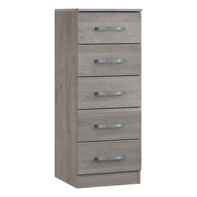Minnesota Grey Oak 5 Drawer Tallboy