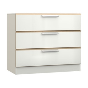 Waterfall White and Oak 3 Drawer Chest