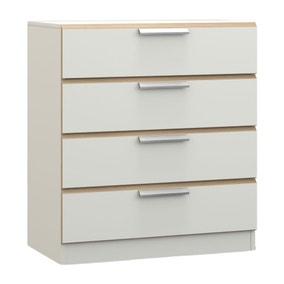 Waterfall White and Oak 4 Drawer Chest
