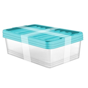 Pack of 3 32 Litre Teal Underbed Storage Boxes