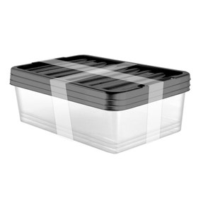 Pack of 3 32 Litre Black Underbed Storage Boxes