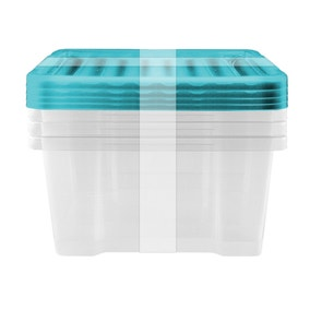Pack of 4 20 Litre Teal Underbed Storage Boxes