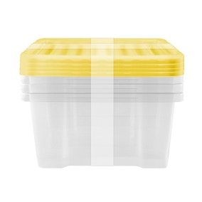 Pack of 4 20 Litre Yellow Underbed Storage Boxes