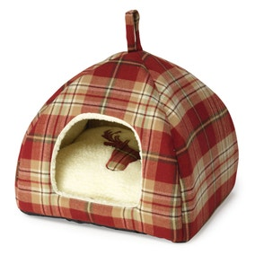 Red Tweed Hooded Cat Bed