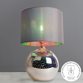 Dual Lit Iridescent Table Lamp
