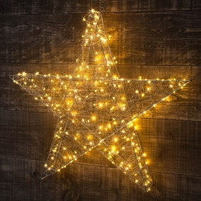 Large Copper Wire Star in Warm White