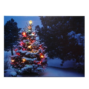 Snowy Tree Christmas Wall Canvas
