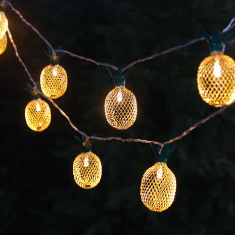 Set of 10 Pineapple LED Outdoor String Lights
