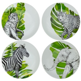 Set of 4 Animal Printed Side Plates