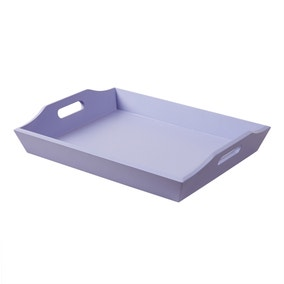 Rectangular Purple Painted Wooden Tray