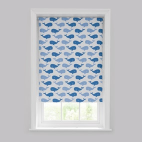 Whales Moisture Resistant Blue Roller Blind