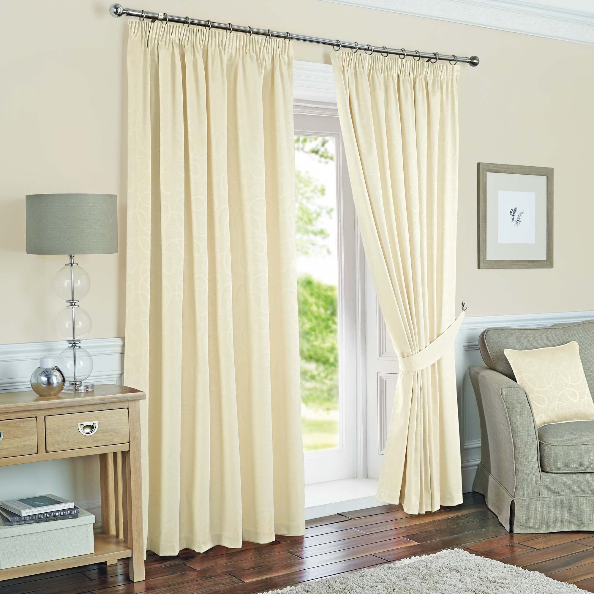 Photo of Toledo cream thermal pencil pleat curtains cream