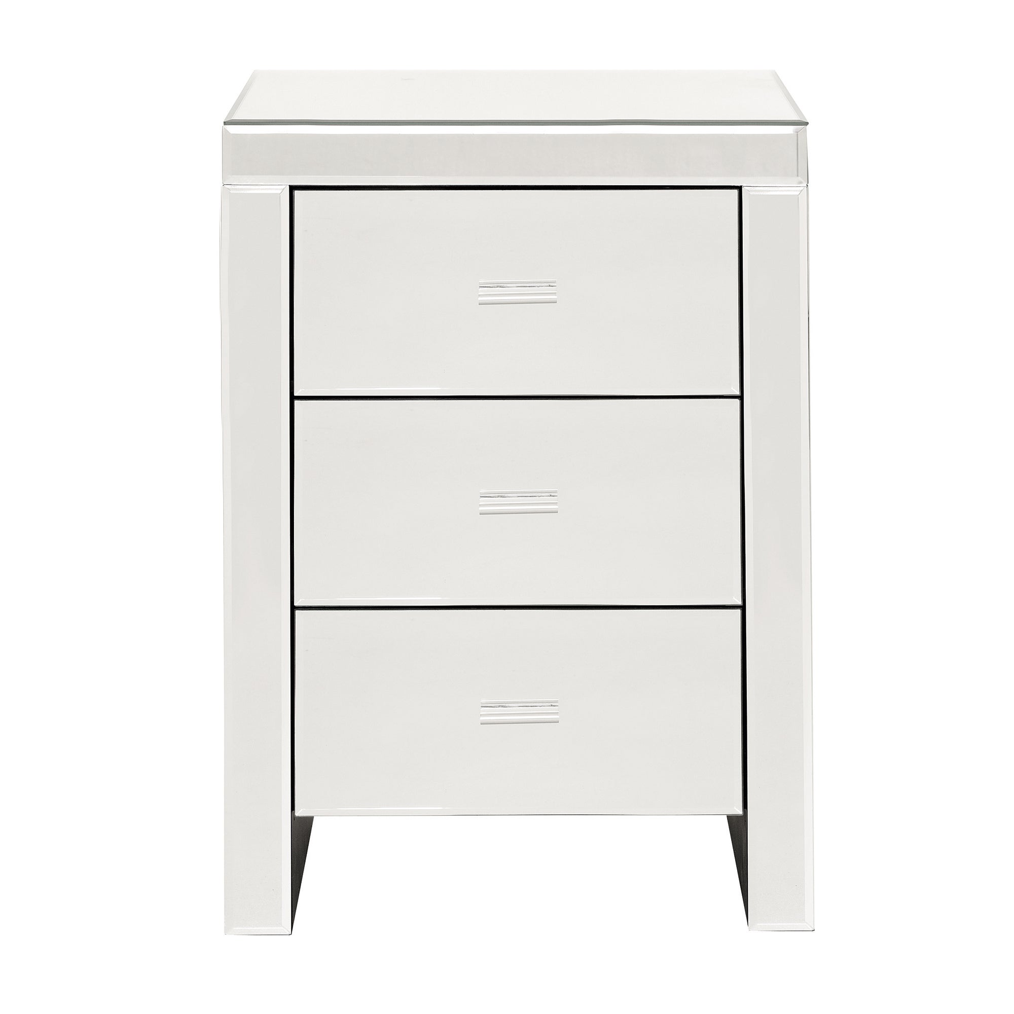 Photo of Venetian mirrored 3 drawer bedside table white