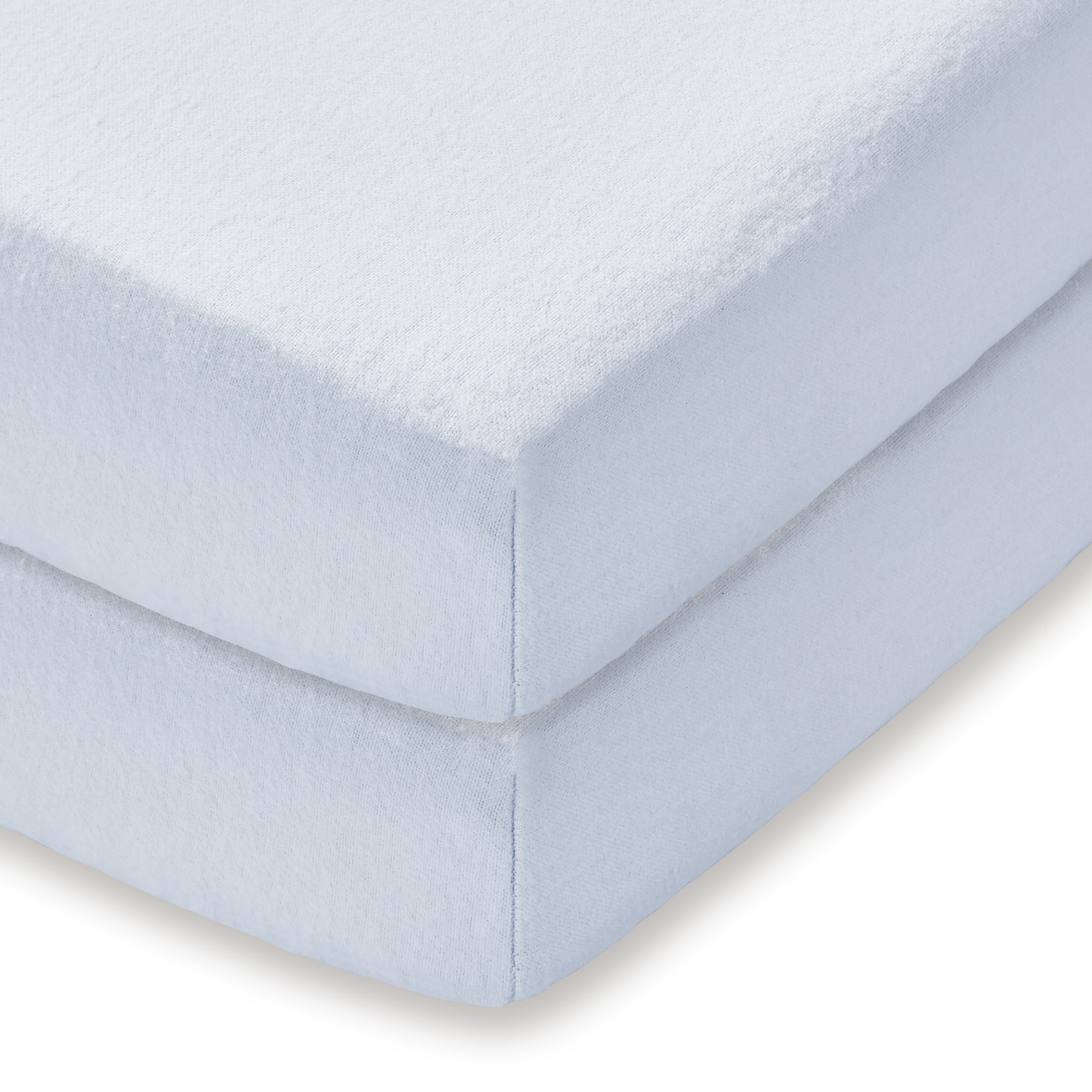 Kids Pair of Fitted Cot Flannelette Sheets Light Blue  Baby Blue