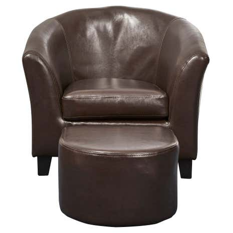 faux leather tub chair and footrest. kids brown faux leather tub chair and stool footrest l