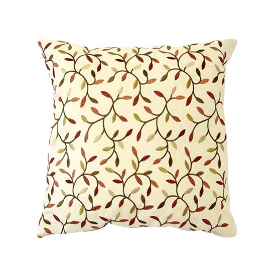 Natural Embroidery Leaf Cushion Light Brown  Natural