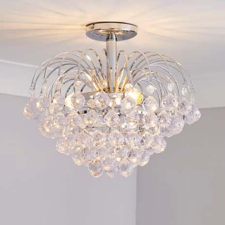 Bathroom Lights Dunelm beaded droplet flush fitting ceiling light | dunelm