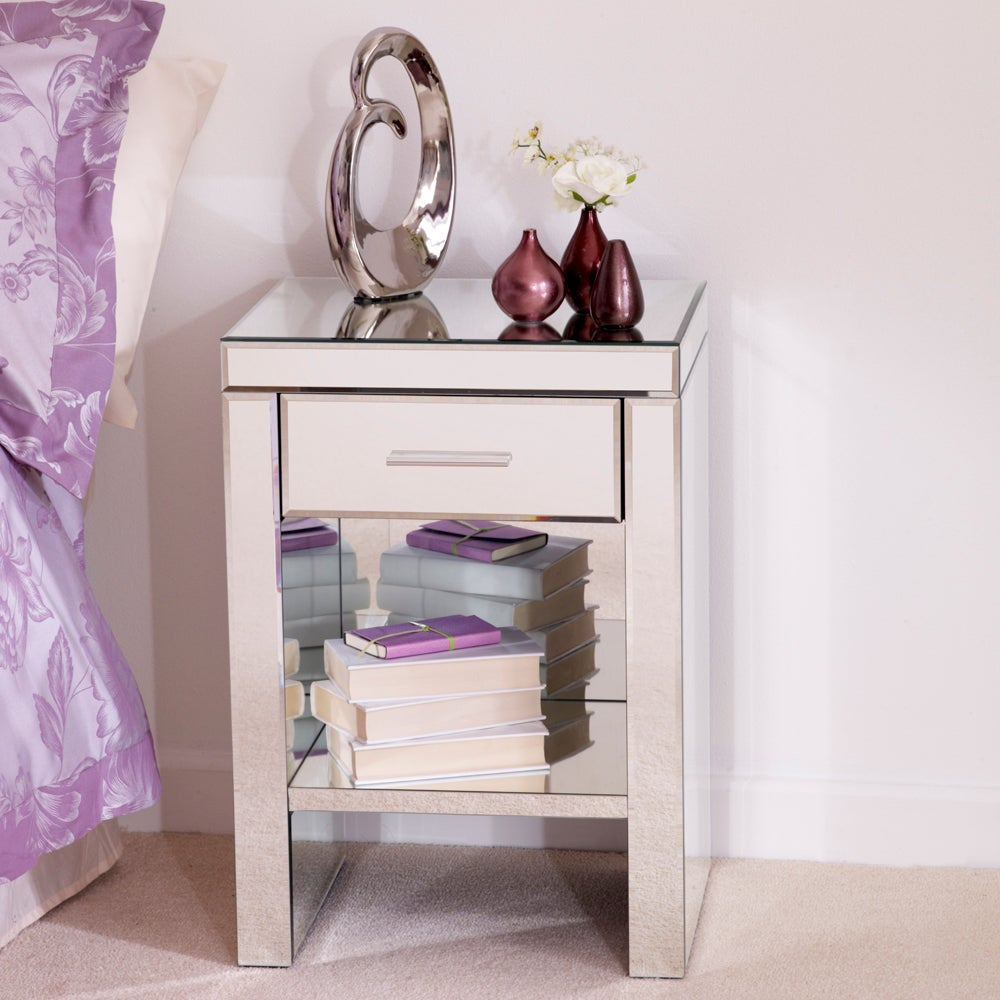 Photo of Venetian mirrored 1 drawer bedside table white