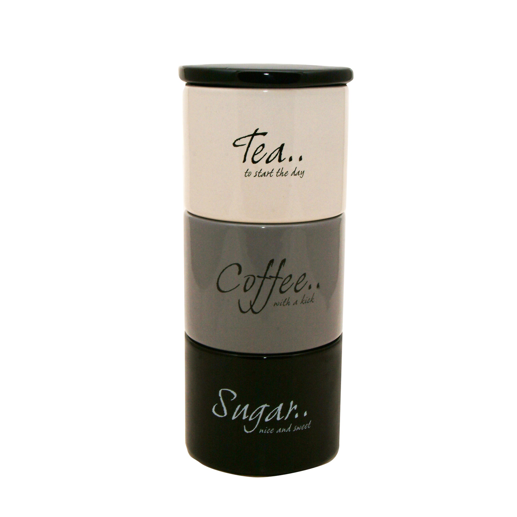 Monochrome Stack of Tea Coffee and Sugar Storage Jars Black