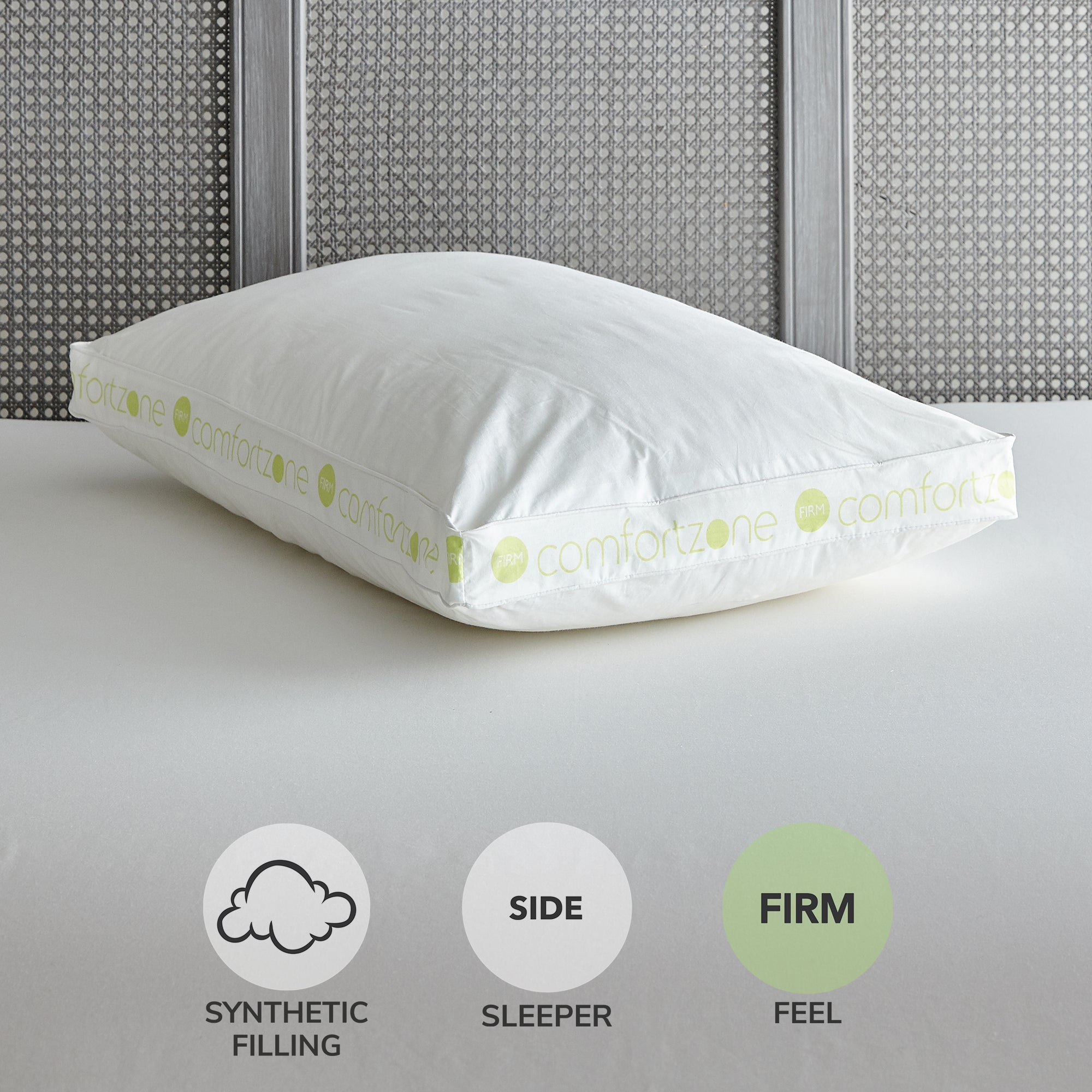 Image of Comfort Zone Hollowfibre Firm-Support Walled Pillow White
