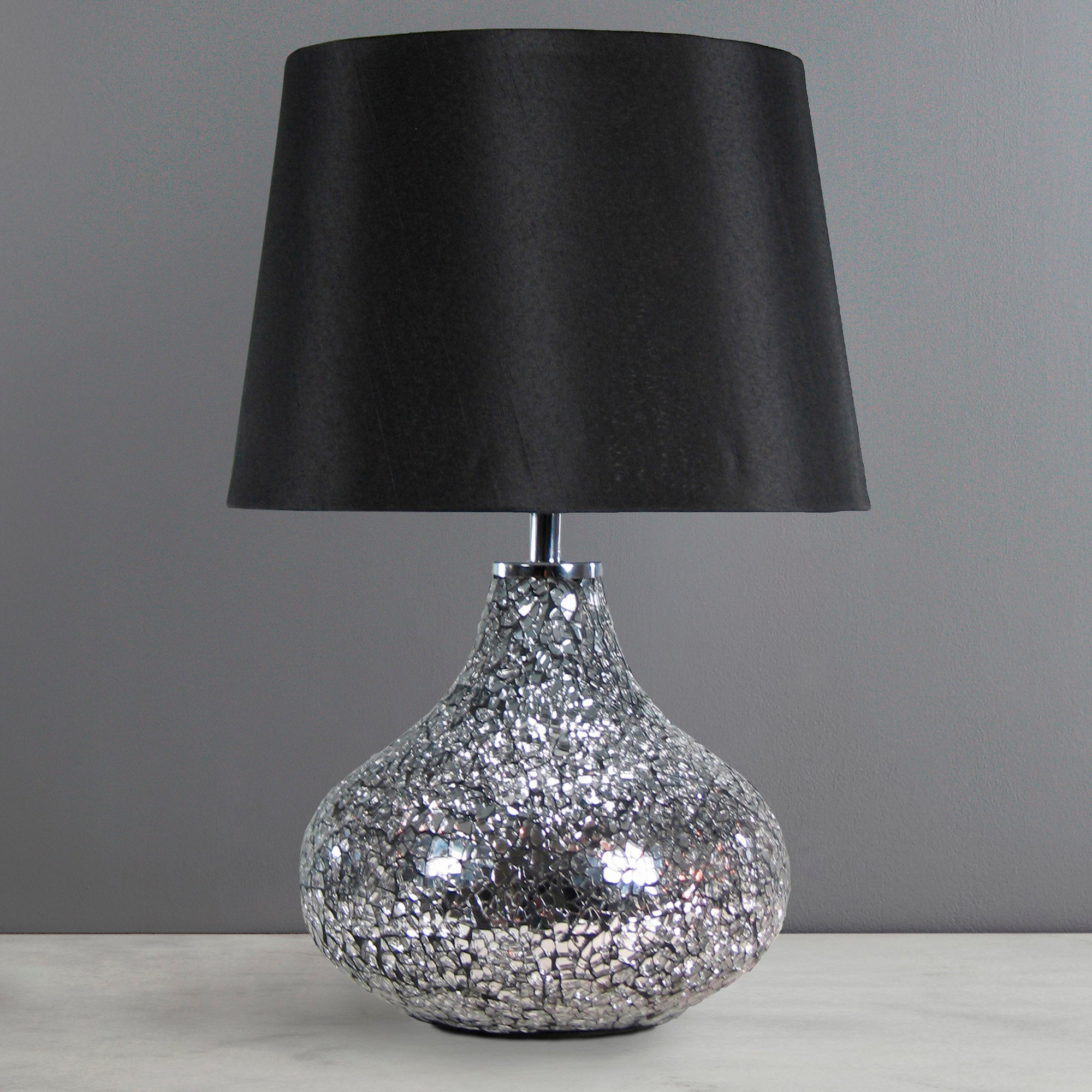 Photo of Crackle glass lamp black