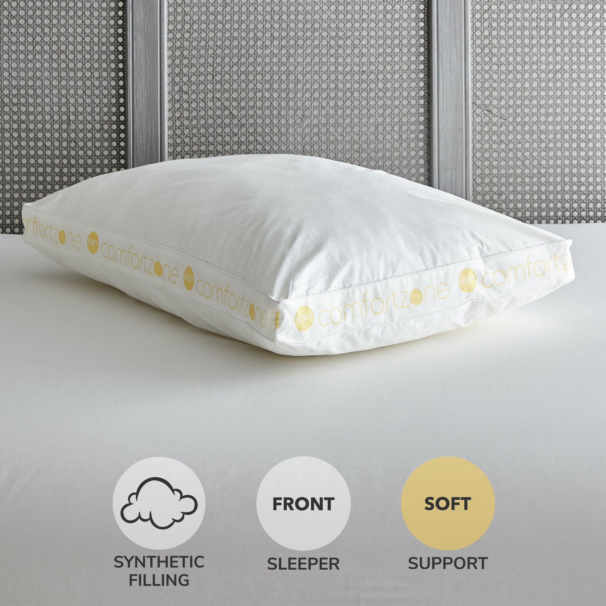 Image of Comfort Zone Hollowfibre Soft-Support Walled Pillow White