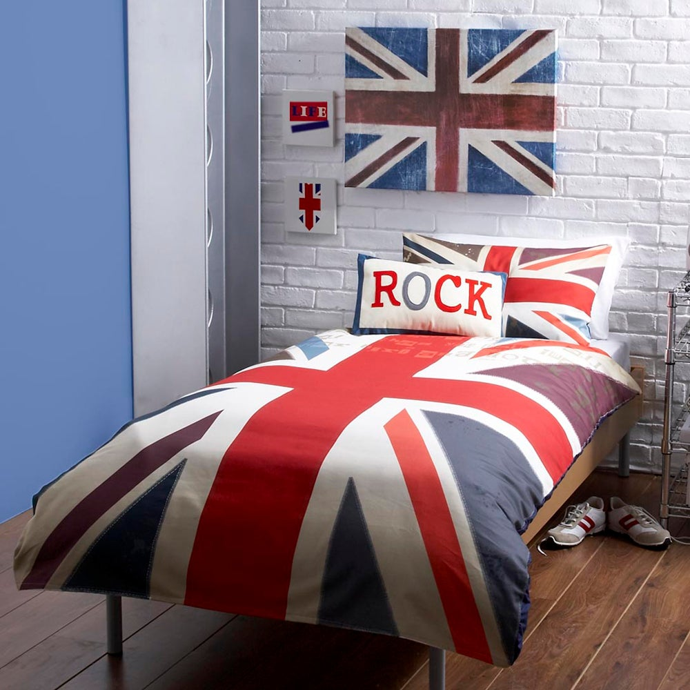 Kids Union Jack Duvet Cover Set Blue  Red