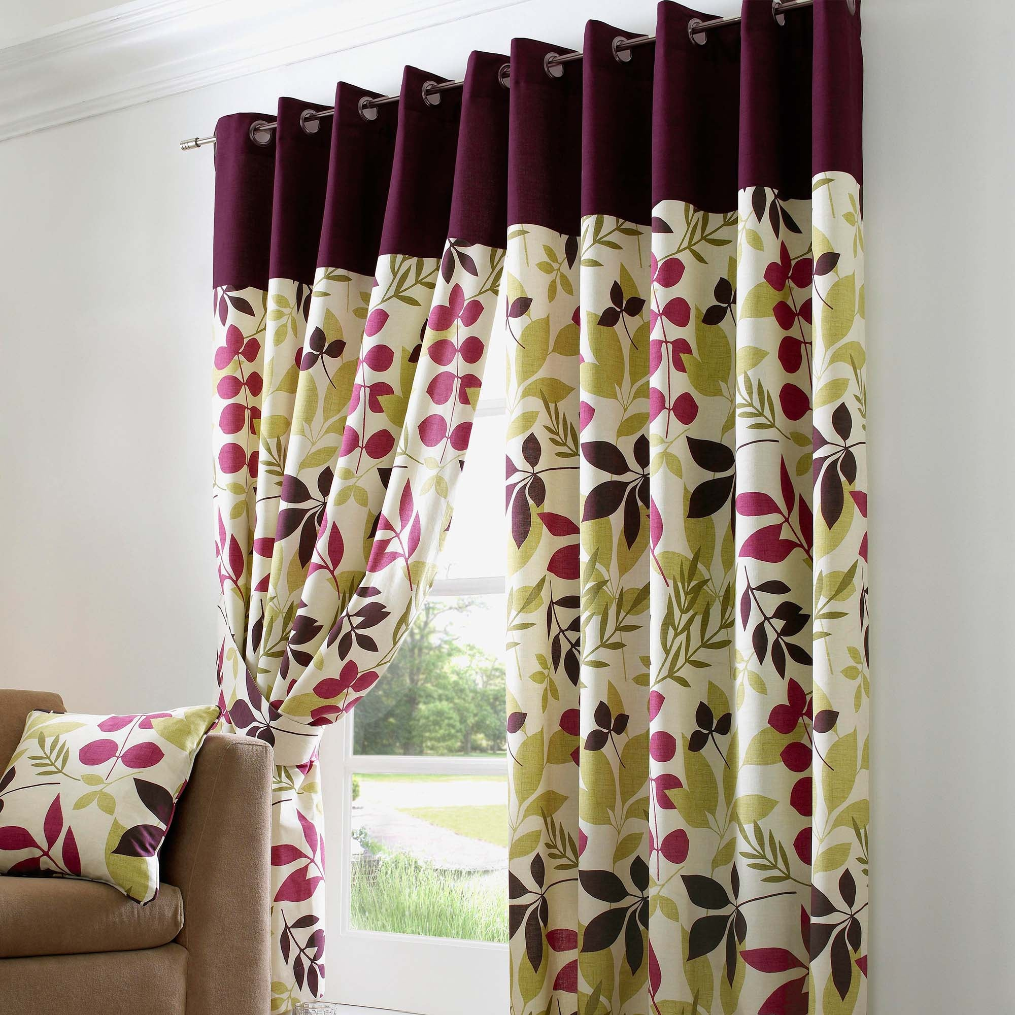 Photo of Jakarta plum lined eyelet curtains dark purple