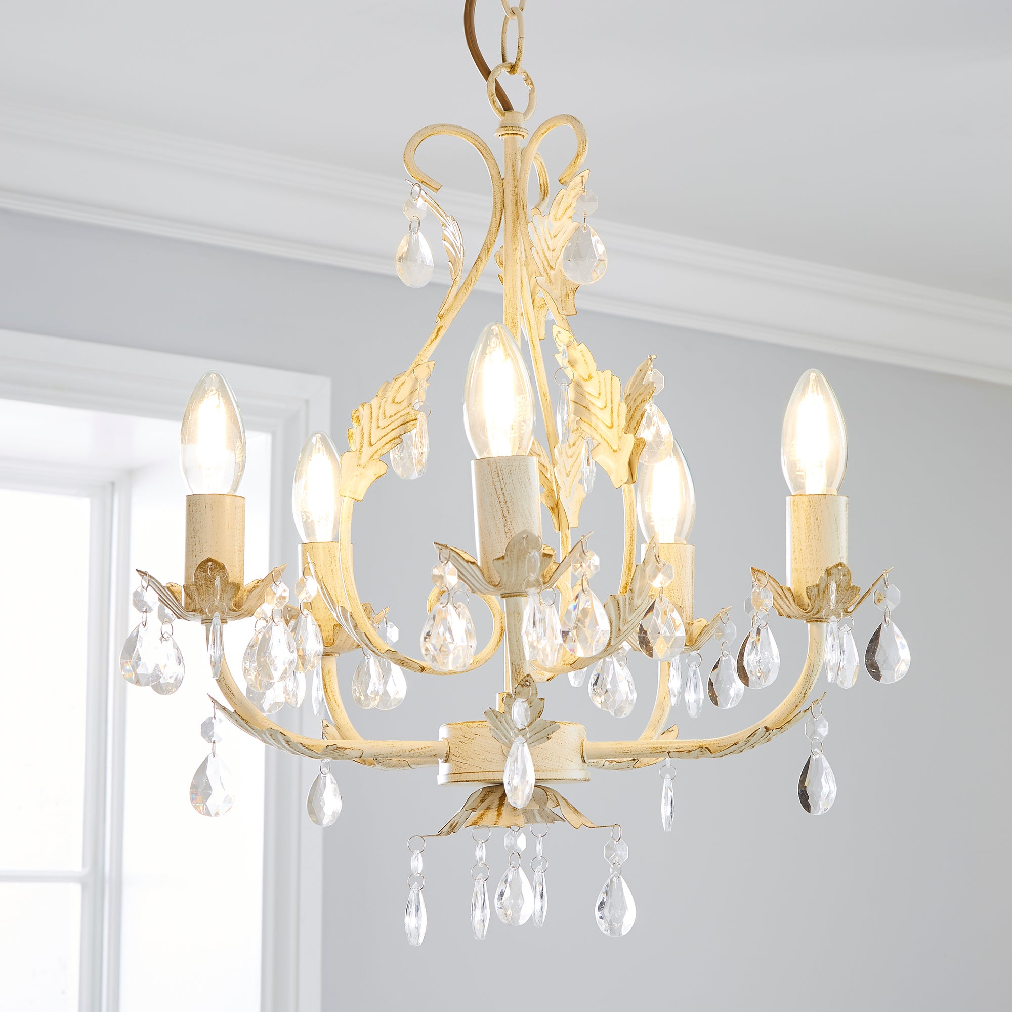 Image of 5-Light Leaf and Jewel Chandelier Cream