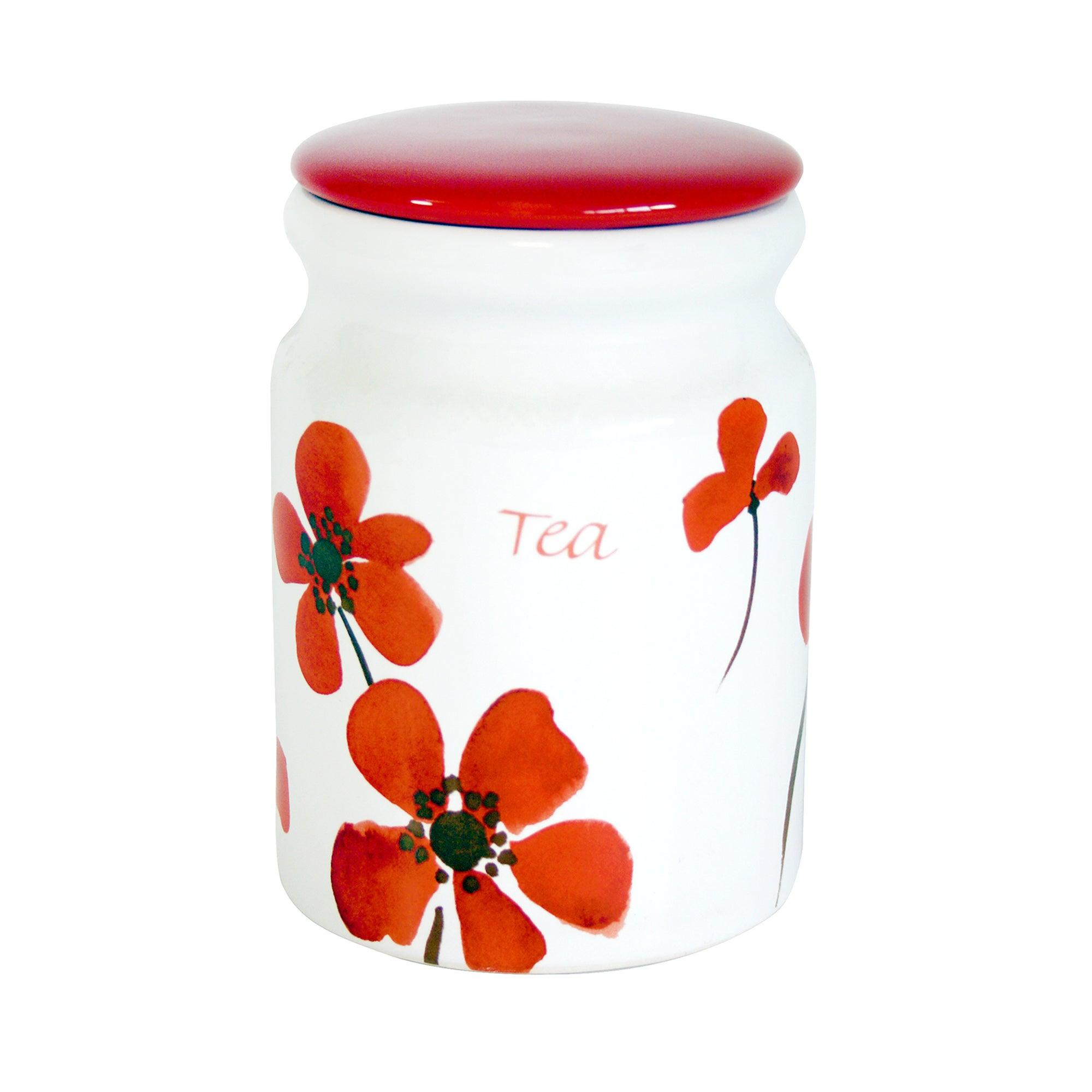 Red Painted Poppy Tea Storage Jar Red  White