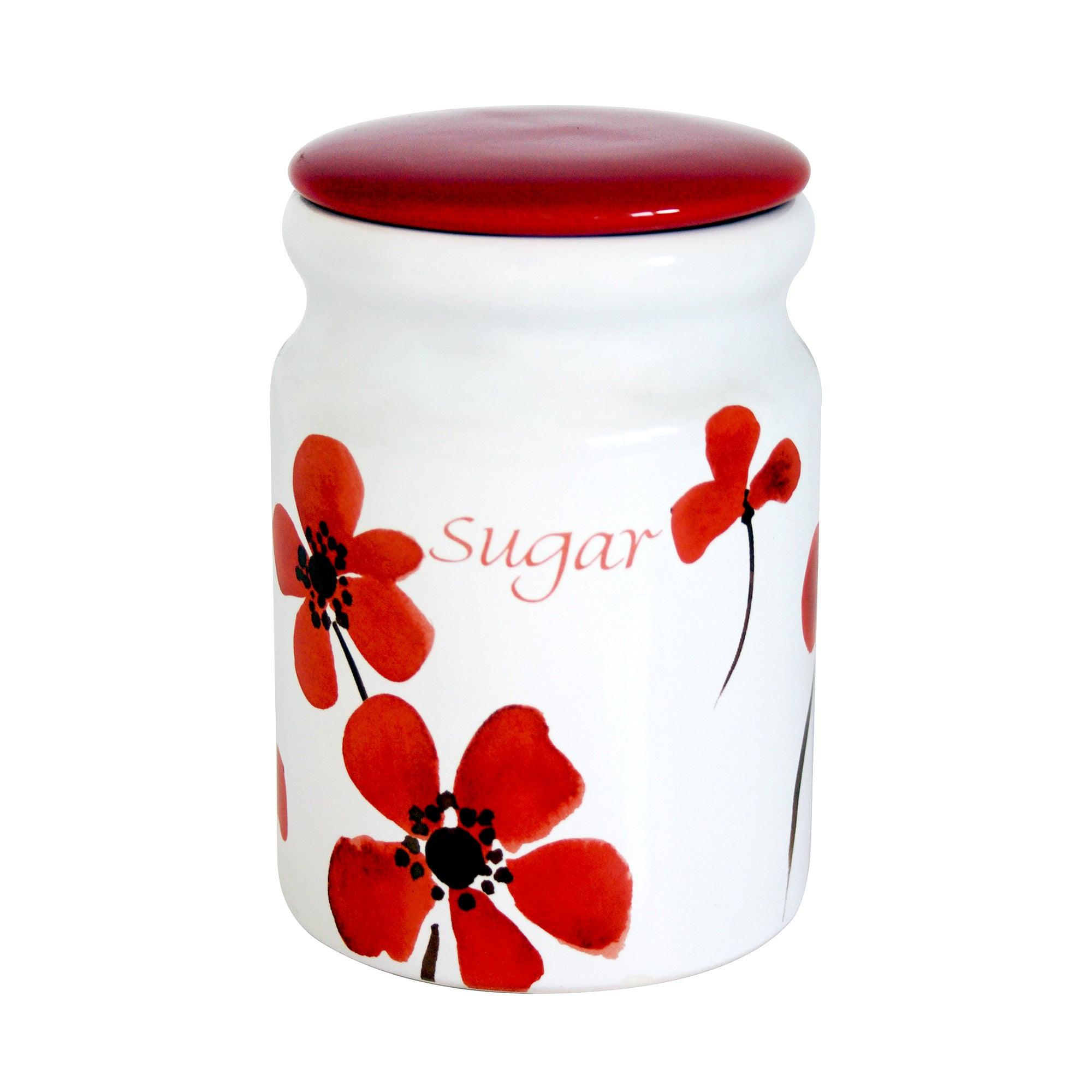 Red Painted Poppy Sugar Storage Jar Red